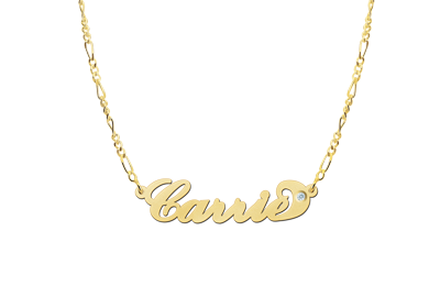 Gouden naamketting model Carrie zirkonia2