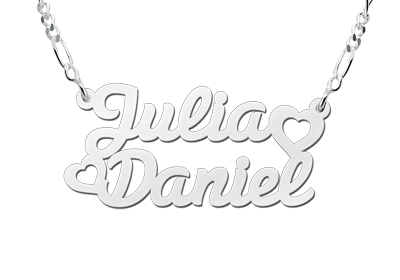 Zilveren naamketting model Julia/Daniel